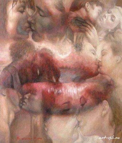 История.  Сюрреализм. все работы.  Поцелуй, холст/масло 68Х80.  Картина.