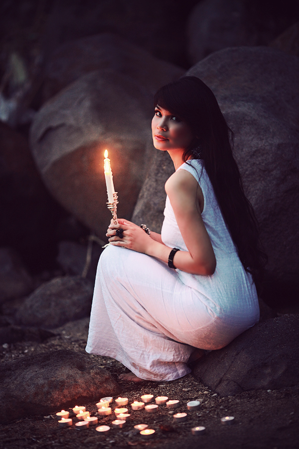 candle-girl-forest-dress-romance