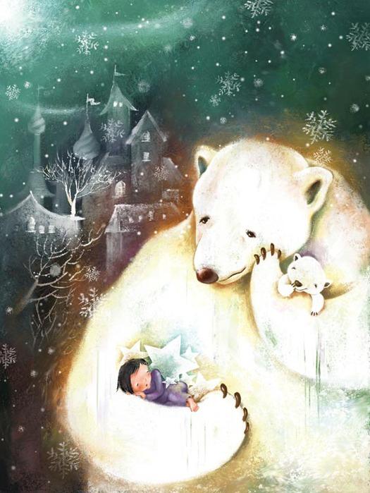 Открытка девушка с медведем, для поздравлений днем