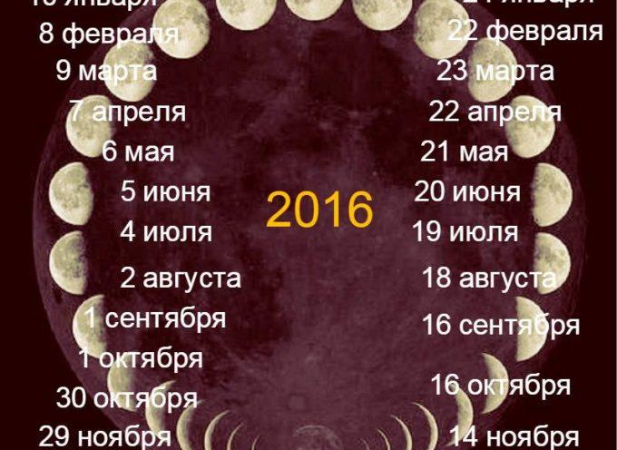 Календарь новолуний, полнолуний и затмений в 2016 году